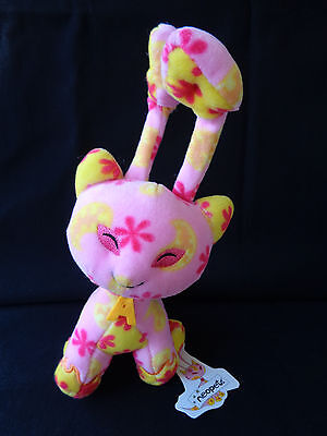 "NWT 2002 Neopets AISHA Plush 10"" Pink Yellow Flowers Stuffed Creature Toy NEW"