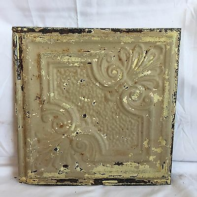 "1890's Reclaimed 12"" x 12"" Antique Tin Ceiling Tile 176-17 Metal Putty Shabby"
