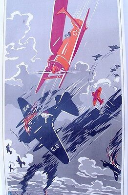 1941 RUSSIAN SOVIET WW2  WWII AIR FORCE THEME POSTER by DOLGORUKOV