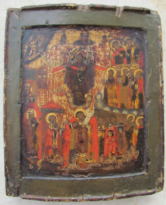 NICE ANTIQUE 17th-18th CENTURY RUSSIAN ICON OF INTERCESSION (POKROV)