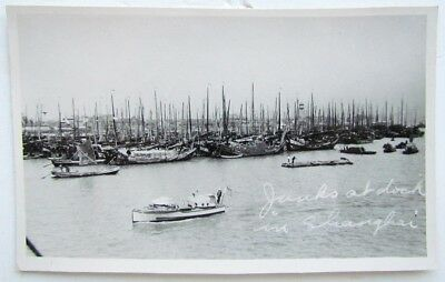 Rppc Vintage Photo Postcard - Chinese Junks At Dock In Shanghai China