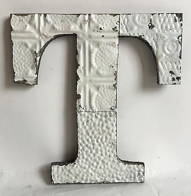 "Shabby Antique Tin Ceiling Wrapped 12"" Letter 'T' Patchwork Metal Chic White A11"