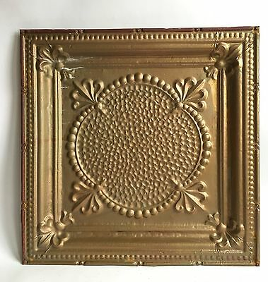 "1890's 24"" x 24"" Antique Reclaimed Tin Ceiling Tile Vintage Gold C33a Metal"