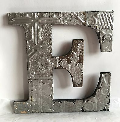 """Large Antique Tin Ceiling Wrapped 12"""" Letter 'E' Patchwork Mosaic Silver R16"""