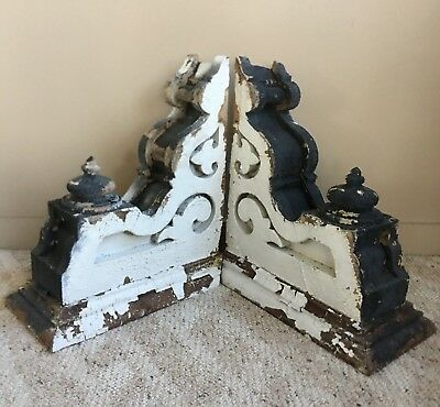 Antique Pair(2) 1890's Wood Corbels Brackets Gingerbread Victorian Gray 15 x 20
