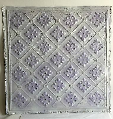 "1890's 24"" x 24"" Antique Reclaimed Tin Ceiling Tile  White Lavender S6 Metal"
