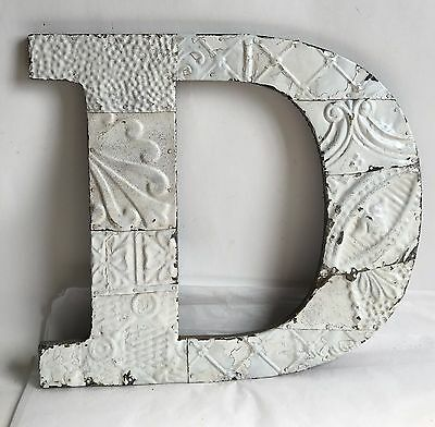 "Large 1890's Antique Tin Ceiling Wrapped 16"" Letter D' Patchwork Metal White B18"