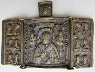 ANTIQUE 1800s BRONZE RUSSIAN TRAVELING ICON TRIPTYCH w/ST.NICHOLAS IN THE CENTER