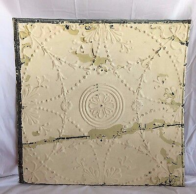 "1890's 24"" x 24"" Antique Reclaimed Tin Ceiling Tile Ivory 183-17 Anniversary"