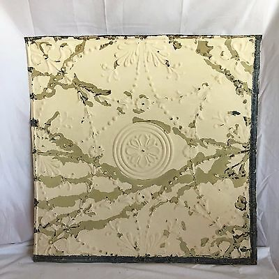 "1890's 24"" x 24"" Antique Reclaimed Tin Ceiling Tile Ivory 185-17 Anniversary"