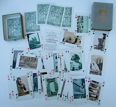 VINTAGE EGYPTIAN MONUMENTS PLAYING CARDS DECK w/ BOX & tax stamp
