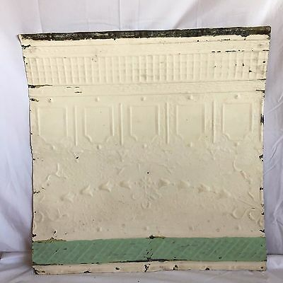 "1890's 24"" x 24"" Antique Reclaimed Tin Ceiling Tile Ivory 186-17 Anniversary"