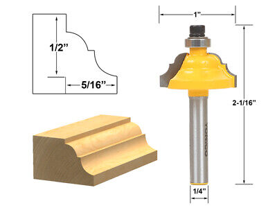 """5/16"""" Classical Roman Ogee Edge Forming Router Bit - 1/4"""" Shank - Yonico 13122q"""