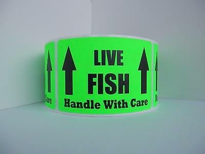 50 LIVE FISH HANDLE WITH CARE Warning Sticker Label fluorescent green bkgd