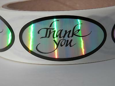 THANK YOU 1x2 oval  Stickers Labels holographic rainbow prism 500/rl