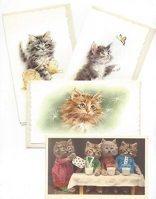 Kitties Kittens Cats 3 Note Cards w/Envelopes 1 Post Card Unused