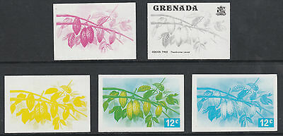 Grenada 2594 - 1975 Cocoa Tree 12c set of 5 PROGRESSIVE PROOFS unmounted