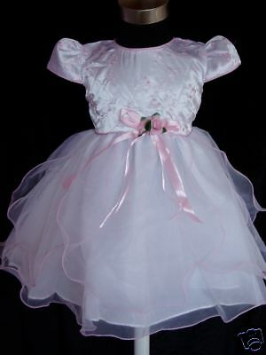 New Baby Girls White and Pink Satin Wedding Party Christening Dress 0-3 Months