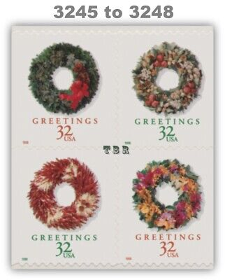 Holiday 1998 Wreaths 3245-48 3248 3248a Block From Vending BK270 MNH - Buy Now