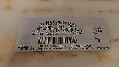 Madonna The Re-Invention Tour MGM Grand Arena Las Vegas 2004 Ticket Stub