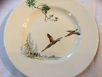 "Set 6 Vintage Royal Doulton Side Plates ""The Coppice"" Art Deco 1930s Pheasants"
