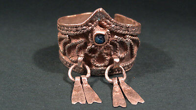 Ancient Silver Ring With Glass Stone & Pendants Rare Design, Islamic 700-1000 Ad