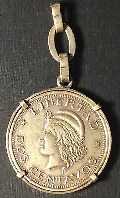 1894 ARGENTINA 2 CENTAVOS In Bezel on Chain