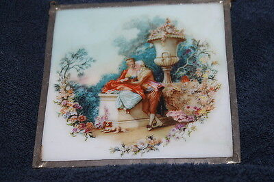 Vintage Leaded Stained Glass Framed Tile With Scene Gorgeous Milk Glass
