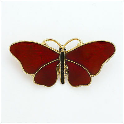 Norwegian Silver Enamel Butterfly Brooch - OF HJORTDAHL