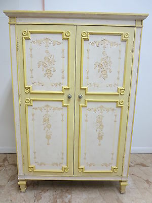 John Widdicomb Painted Regency Directiore Fitted Dresser Chest Armoire