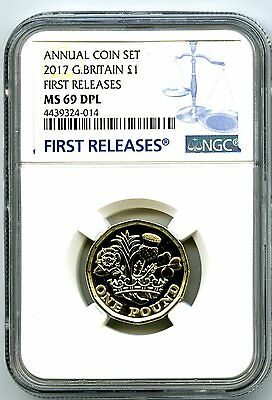 2017 Great Britain £1 New 12 Sided Pound Ngc Ms69 Dpl Annual First Releases