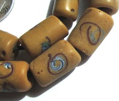 11 Rare Amazing Old Butterscotch Venetian Mosaic Eye Antique Beads African Trade