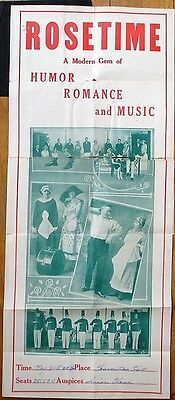 "Theatre/Play 1920s Advertising Poster: Rosetime - Humor, Romance & Music 12""x38"""