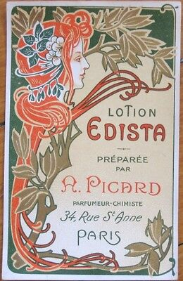 Art Nouveau French 1910 Perfume / 'Lotion Edista' Label - A. Picard, Color Litho