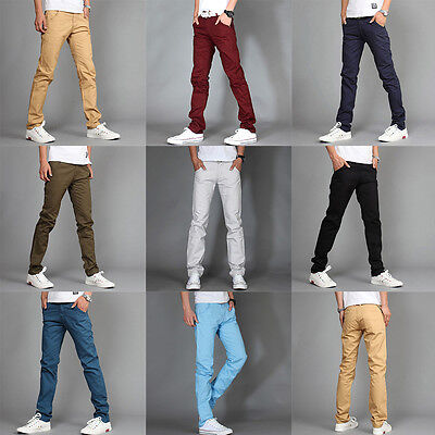 New Fashion Mens Slim Fit Casual Skinny Sweat Trousers Pants Personalized Solid