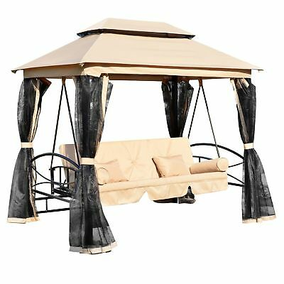 Outsunny 3 Seater Swing Chair Convertible Recliner w/ Gazebo Canopy Mosquito Net