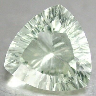 Fine Light GREEN AMETHYST Trilliant Concave Cut 12mm 5.36 Ct.