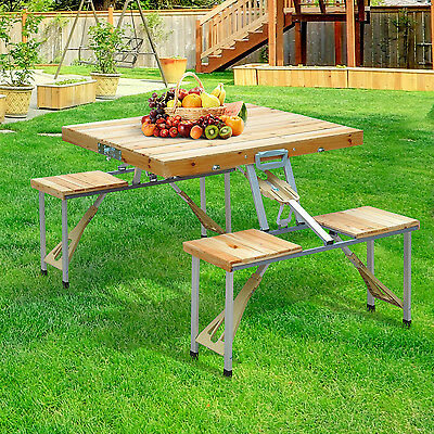 Portable Folding Junior Picnic Table Wood Outdoor Travel Camping Table New