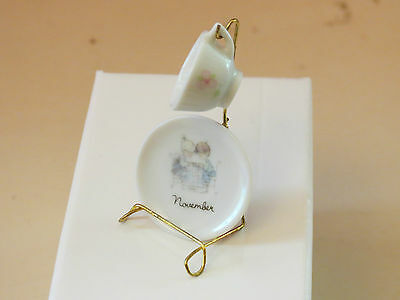 Precious Moments~NOVEMBER MO.MINIATURE CUP & SAUCER WITH STAND~MADE IN JAPAN ENE