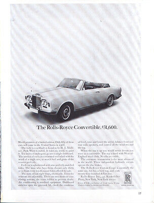 The Rolls-Royce Convertible $31,600 ad 1968