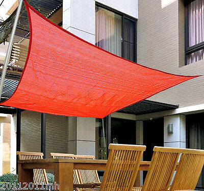 12' Square Sun Shade Sail Outdoor Yard Garden Patio Top Cover - Rust Red