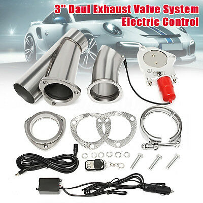 3'' 76mm Electric Exhaust Valve Catback Downpipe System Remote Cutout E-cut Out