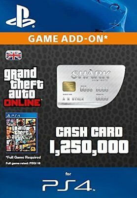 PS4 Grand Theft Auto Online GTA 5 Shark Virtual Cash Card $1,250,000 ($1.25 Mil)