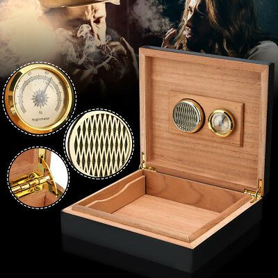 Black Cedar Wood Lined Cigar Storage Case Box + Humidor Humidifier Hygrometer
