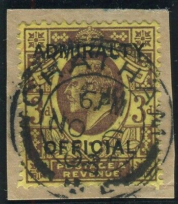 Sg O106 3d Dull Purple & Orange Yellow OVPT ADMIRALTY OFFICIAL. A very fine used