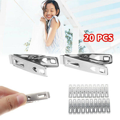 20Pcs Stainless Steel Clothes Pegs Hanging Pins Clips Laundry Metal Clamps