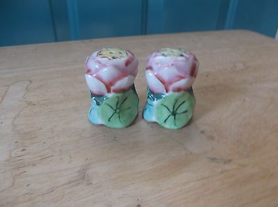 Pair of Pink and Green Ceramic Floral Design Salt and Pepper Shakers Japan