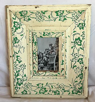 """Large 1890's Reclaimed Wood Picture Frame 4"""" x 6"""" Wooden Ivory Stencil 190-17"""