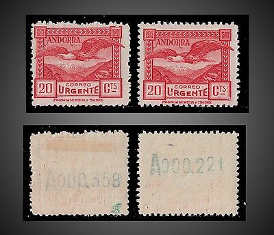 1929 Spanish Andorra Special Delivery Stamp X2 Control Number Mh Sct E3 Mi 27A
