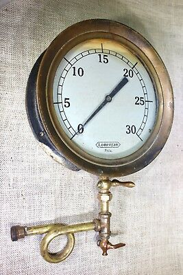 "old 10"" Pressure Gauge Lonergan Phila vintage Steam engine pigtail valve petcock"